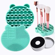 Silicon Makeup Brush Cleaning Mat with Brush Drying Holder Brush Cleaner Mat
