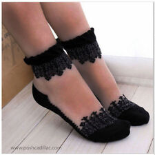 Venetian Xmas Christmas Gift Snowflake Snow Socks Ankle Stockings Tights Black
