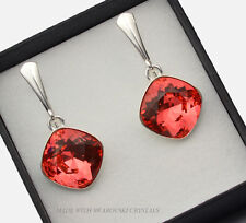 925 SILVER EARRINGS MADE WITH SWAROVSKI CRYSTALS FANCY STONE - PADPARADSCHA