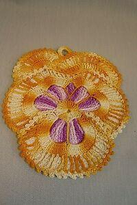"VINTAGE CROCHET DOILY/POTHOLDER-About 6.5 x 5.5""-Golds/Purples-Hanging Loop"
