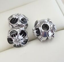 2 Black White Gradient Blossom Flower Locking Clip Bead Stoppers European Charms
