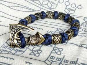 Viking bracelet made of paracord, Celtic knots and original beads. Mens style.