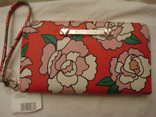 BETSEY JOHNSON RED/LARGE PINK & WHITE FLOWERS ZIP AROUND WALLET/WRISTLET NWT