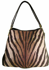 NWT Coach 26636 Madison Brown Zebra Print Small Phoebe Canvas Shoulder bag $278