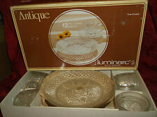 """12pc Boxed LUMINARC Snack Set ANTIQUE Pattern Clear 8"""" PLATES Cups Saucers"""