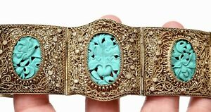 Chinese Turquoise Carved Plaque SILVER Plated NOT SILVER 鍍銀 Filigree Bracelet Mk