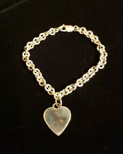Sterling Silver ROLO LINK Bracelet With POLISHED ENGRAVEABLE HEART CHARM DANGLE