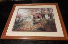 "Lee K Parkinson Autum Rustic Barn Farmhouse Painting PRINT 34"" FRAMED Landscape"