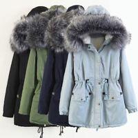 Womens Sherpa Lined Jacket Faux Fur Hooded Parka Drawstring Overcoat Coat Winter