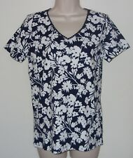 """Basic Editions Black & White Floral Short Sleeve Top S/C Bust 34"""" Length 25"""" NWT"""