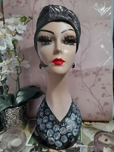 Hand painted PVC lady head bust Art Deco Vintage Style.Hat Wig Jewellery Display