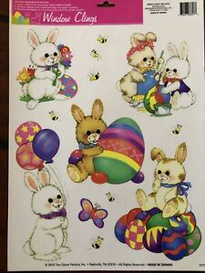 Clever Factory Easter Window Clings CUTE EASTER BUNNIES Bees Butterfly Rainbow