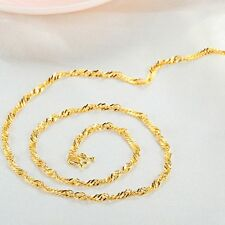 Fine Jewelry Pure Solid 24k Yellow Gold Necklace Lucky Singapore Chain 4-4.2g