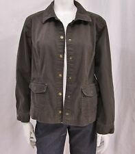 Chico's sz 2 ( L) Dark Brown Cotton Blend Button Front Jacket w/Stud Detail