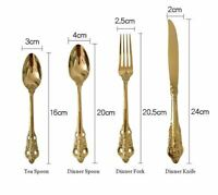 24pcs Vintage Western Gold Plated Cutlery Dining Knives Forks Teaspoons Set Gold