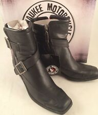 Womens Milwaukee Motorcycle Boots Black Leather Sable Zip Heels Buckles Size 6.5