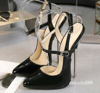 16cm Super High Heels Womens Mens Club Stilettos Cross-dresser Buckle Pumps Size