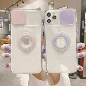 Shockproof Ring Holder Clear Slide Camera Case Cover For iPhone 12 Pro Max 11 XR