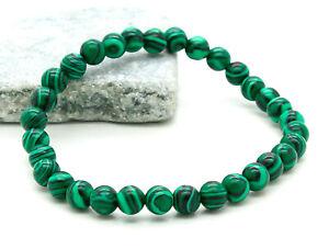 Armband  Malachit Perlen Powerarmband 6 mm grün schwarz versch. Längen