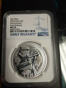 STAR WARS STORMTROOPER 2018 Niue  .999 silver 1 oz NGC MS 70 Early Releases