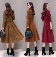 Womens Suede Leather Long Trench Coat Double Breasted Lapel Jacket Swing Fashion