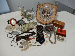 bulk lot mens vintage items - barware, watch, collectibles, coins, jewellery,etc