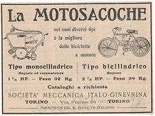 Pubblicità 1909 MOTOSACOCHE BICI A MOTORE MOTOR CYCLE advert werbung publicitè