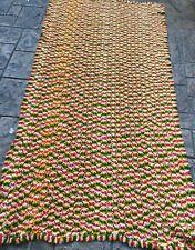 Vintage Handmade Striped Pink Green Gold Knitted Afghan Blanket Fringed 40x86