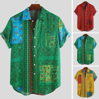 2019 Fashion African Printing Clothing Men's Short Sleeve Party Shirt Top Blouse