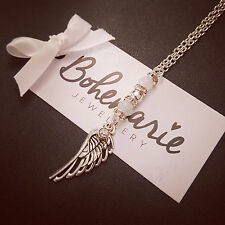 24 Inch White agate angel wing necklace gemstone bijoux jewellery boho gypsy