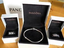 Pandora Sterling Silver Bracelet with 4 Spacer Charms and 2 Clip Charms - Boxed