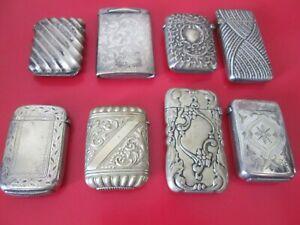 8 Antique    MATCH SAFES   - All Excellent  & Old Patina