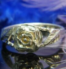 Rose Flower dainty 0.925 Sterling Silver Estate band Ring size 9
