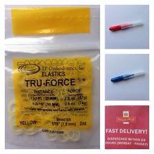 T P Orthodontic Bands Tru-Force Elastic  Yellow. + 2 Free Interdental Brushes UK