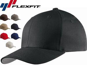 Flexfit - V-Flex Cotton Twill Fitted Baseball Cap Blank Plain Hat S/M L/XL, 5001