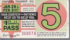 Trolly/Bus pass capital Transit Wash. DC--1945-----94