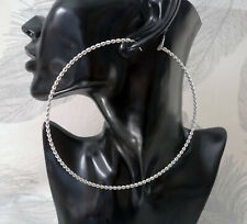 Huge hoop earrings - 12cm big twisted SILVER TONE hoops - Oversized earrings