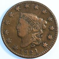 "1824  ""MATRON HEAD"" LARGE CENT, CHOICE VERY FINE, TOUGH THIS NICE!"