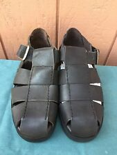 Via Milano Shoes Mens Leather Sandals with Straps Dark Brown Sneakers US Size 10