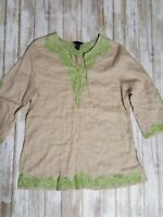 Anne Carson Women's Large Tunic Top Embroidered Beaded V Neck