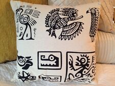Aztec Native Tribal Art Animals Eagle Monkey Alligator Cotton Throw Pillow NEW