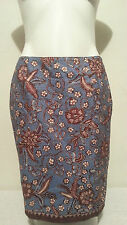 NWT PETITE SOPHISTICATE Brown & Blue Floral Print Pencil Skirt Size 10
