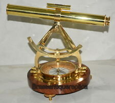 """New listing 14"""" Brass Polished Alidade Telescope Compass Survey Instrument Wooden Base"""
