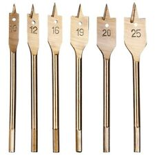 6pc FLAT WOOD DRILL BIT SET TITANIUM COATED 6 SIZES+ POUCH DIY CUT BORER HOLE