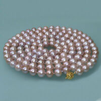 "natural 18"" AAA+ 7-8MM SOUTH SEA NATURAL Purple PEARL NECKLACE 14K GOLD CLASP"