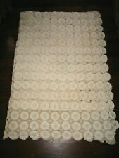 """ANTIQUE HAND CROCHETED BED COVER THROW 58"""" x 84"""" Excellent Clean Condition"""