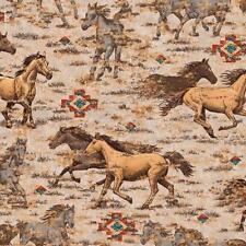 Patchwork Dekostoff Gardinenstoff  Indianer Pferde Lakota Sioux lfm Baumwolle