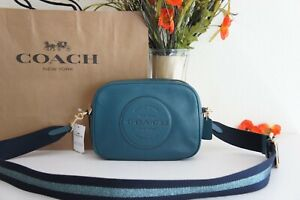 NWT COACH C2828 Dempsey Camera Bag in Pebble Leather w Coach Patch Teal ink $328
