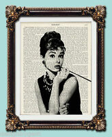 "Audrey Hepburn Antique vintage encyclopaedia dictionary print  10"" x 8"""
