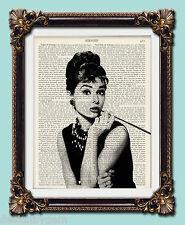 "Audrey Hepburn Antique vintage encyclopaedia dictionary print  10"" x 8"""